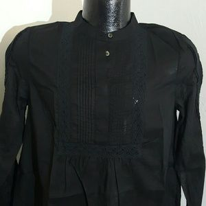 Madewell black top tunic Cotton lace long sleeve